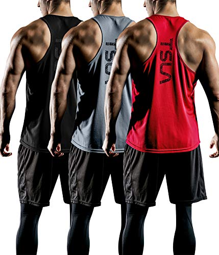 TSLA Men's (Pack of 1 or 3) Workout Muscle Tank Sleeveless Gym Training Active Workout Cool Dry Top Shirt, Active Y-Back 3pack(mtn33) - Black & Grey & Red, -