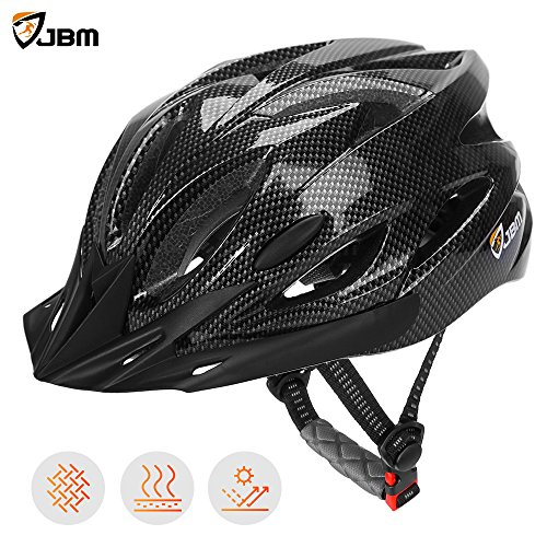 JBM Adult Cycling Bike Helmet Specialized for Men Women Safety Protection CPSC Certified (18 Colors) Black/Red / Blue/Pink / Silver Adjustable Lightweight Helmet with Reflective Stripe and Removal