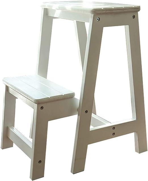 Plegables pasos de escalera Taburete plegable para niños/adultos, Escalera de madera de 2 escalones, escalera de trabajo pesado, silla para biblioteca/hogar/oficina/baño, carga máxima 150 k: Amazon.es: Hogar