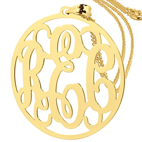 Solid 14k Yellow Gold Monogrammed 3 Initials 1 1/4 Inches Round Circle Monogram Pendant. (18)