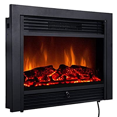 Comforting Warmth Contemporary Design, 28.5'' Electric Wall Mounted Embedded Insert Heater Fireplace W/Remote Control Stove Heater 750W & 1500W, Living, Bed Room