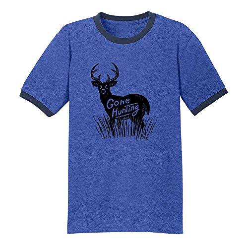 Gone Hunting Deer Retro Vintage Hunter Royal/Navy 4XL Ringer T-Shirt