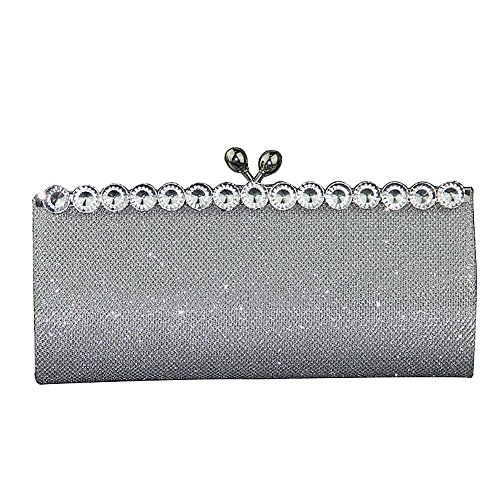 Bag Ladies Prom Silver Wedding Bags Clutch Crystal Elegant Evening Women UNYU for xUqYY