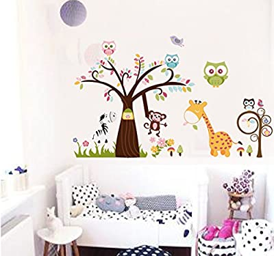 Jessie&letty Jungle Zoo Animal Tree Giraffe Monkey Owl Wall Stickers Decal for Kids Room Nursery Decoration