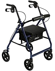 Drive Medical Aluminum Rollator Walker Fold up and Removable Back Support, Padded Seat