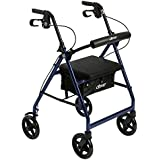 """Drive Medical Aluminum Rollator Walker Fold Up and Removable Back Support, Padded Seat,7.5"""" Wheels, Blue"""