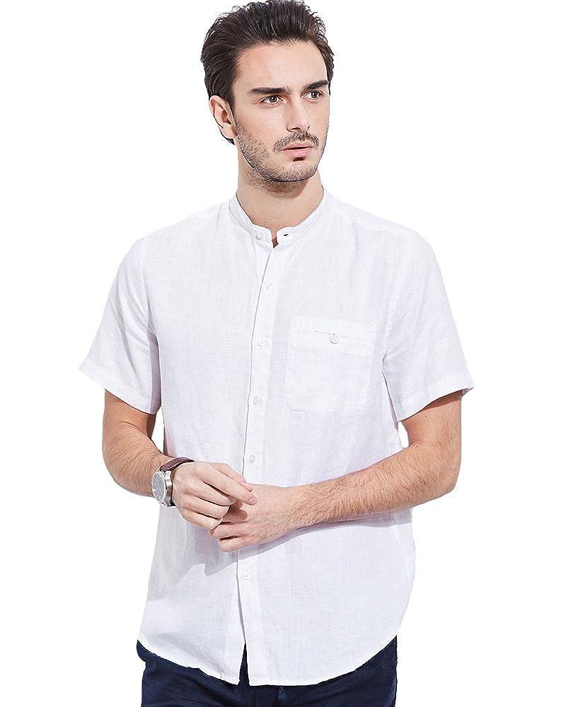 UAISI Leinenhemd Herren Sommer Weißes Hemden Stehkragen Langarm Slim Fit B07BWH2J21 Freizeit Neueste Technologie