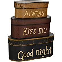 Your Hearts Delight Always Kiss Me Good Night Nesting Boxes, 8 by 3-1/2 by 3-1/2-Inch