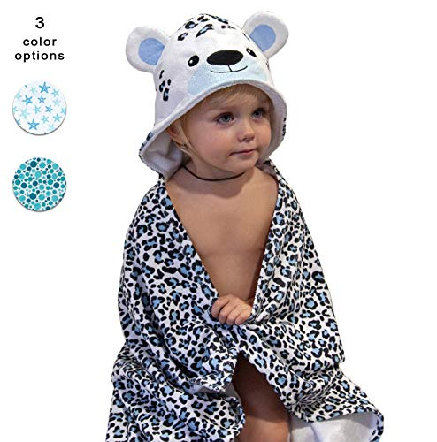Hooded Baby Towel Set with Washcloth - Highly Absorbent Microfiber Material is Very Soft for Toddler Skin - Cute Animal Design for Boys and Girls - Large Bath Wrap with Hood for Kids (Bear)
