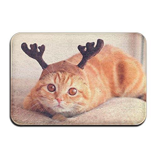 Entry Way Door Mat Rug With Non Slip Backing Reindeer Cat Indoor Doormat For Kitchen,Bath,Pet - Reindeer Cat
