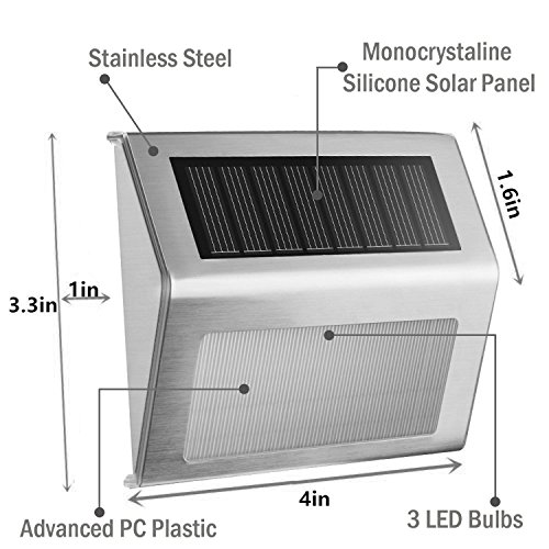 Solar Stair Lights, EpicGadget Waterproof Outdoor LED Step Lighting 3 LED Solar Powered Step Lights Stainless Steel Outdoor Lighting for Steps Paths Patio Stairs (12 Pack) by EpicGadget(TM) (Image #1)
