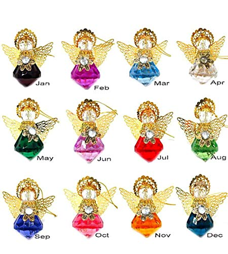 - Linpeng Hanging Birthstones Guardian Size 2 x 2 12 Colors per Set Angel Ornaments, Assorted