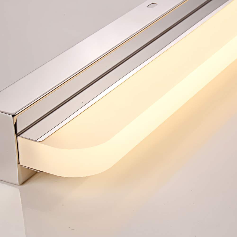 Applique Salle de bain Etanche Simple LED Lampe miroir Acier inoxydable Applique murale Avec Interrupteur Maquillage Miroir lumi/ère /Éclairage-Lumi/ère blanche 52cm+12W