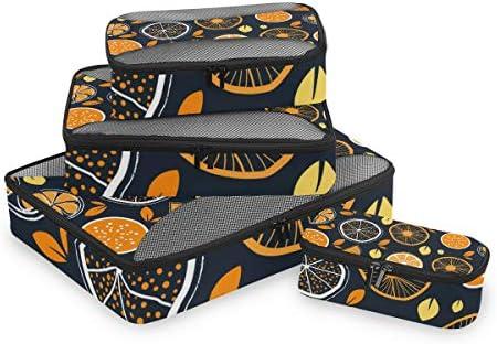 オレンジイエロー荷物パッキングキューブオーガナイザートイレタリーランドリーストレージバッグポーチパックキューブ4さまざまなサイズセットトラベルキッズレディース