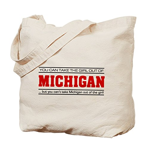 CafePress - Girl From Michigan' - Natural Canvas Tote Bag, Cloth Shopping - Shopping In City Michigan