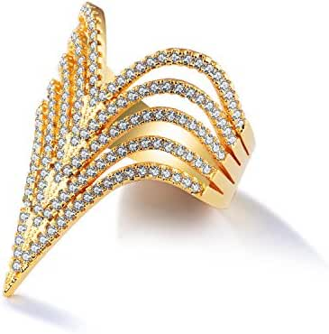 LOHOME Fashion Rings 18K Gold Tone V Style Rhinestone Charm Index Finger Ring for Womens