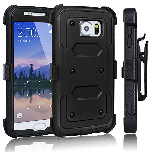 Galaxy S6 Case, Tekcoo(TM) [TShell Series] [Coal Black] Shock Absorbing [Kickstand] Holster Locking Belt Clip Defender Heavy Duty Combo Case Cover Shell for Samsung Galaxy S6 S VI G9200 All Carriers