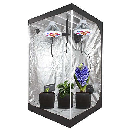 """51l4gCKJ6NL - Ipomelo 48""""x48""""x80"""" 600D Mylar Hydroponic Grow Tent with Floor Tray for Indoor Plant Growing 4'x4'"""