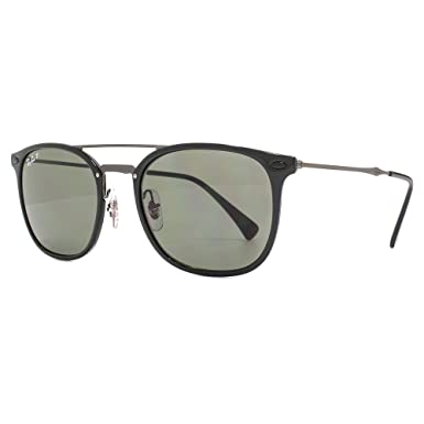 161229d908 Ray-Ban Metal Double Bridge Square Sunglasses in Black Green Polarised  RB4286 601 9A 55  Amazon.co.uk  Clothing