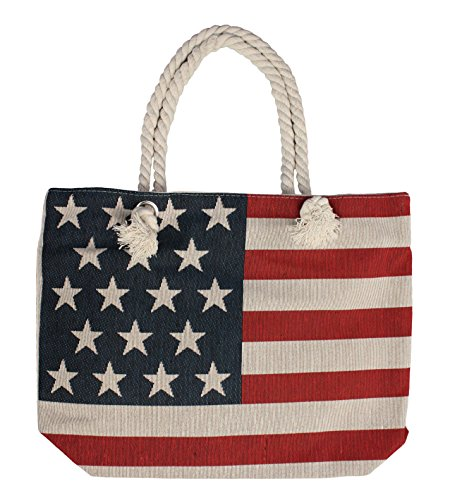 Flag Tote Bag - Heavy Duty Canvas Beach Bag Large Tote with Inner Lining - American Flag