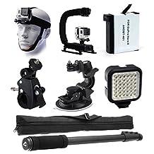 Head Helmet Front Mount + Stabilizer Hand Action Grip + Battery + Bike Handlebar Roll Bar & Car Dashboard Mount + LED Light + Selfie Stick Monopod Portrait Pole for GoPro HERO4 Hero 4 Black Silver
