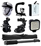 Head Helmet Front Mount + Stabilizer Hand Action Grip + Battery + Bike Handlebar Roll Bar & Car Dashboard Mount + LED Light + Selfie Stick Monopod Portrait Pole for GoPro HERO4 Hero 4 Black Silver