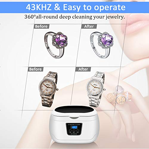 Ultrasonic Cleaner, Professional Ultrasonic Jewelry Cleaner 20 Ounces(600ML) with Five Digital Timer, Watch Holder,Cleaning Basket, SUS Tank for Cleaning Eyeglasses, Ring,Watches, Dentures