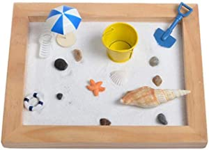 Mini Meditation Zen Garden, 10 x 8 Inches Sand Table with Beach Vacation Micro Landscape Ornaments -Mini Home Office Tabletop Sandbox Stress Relief Therapy Gifts for Adults/Sandbox Birthday Gifts