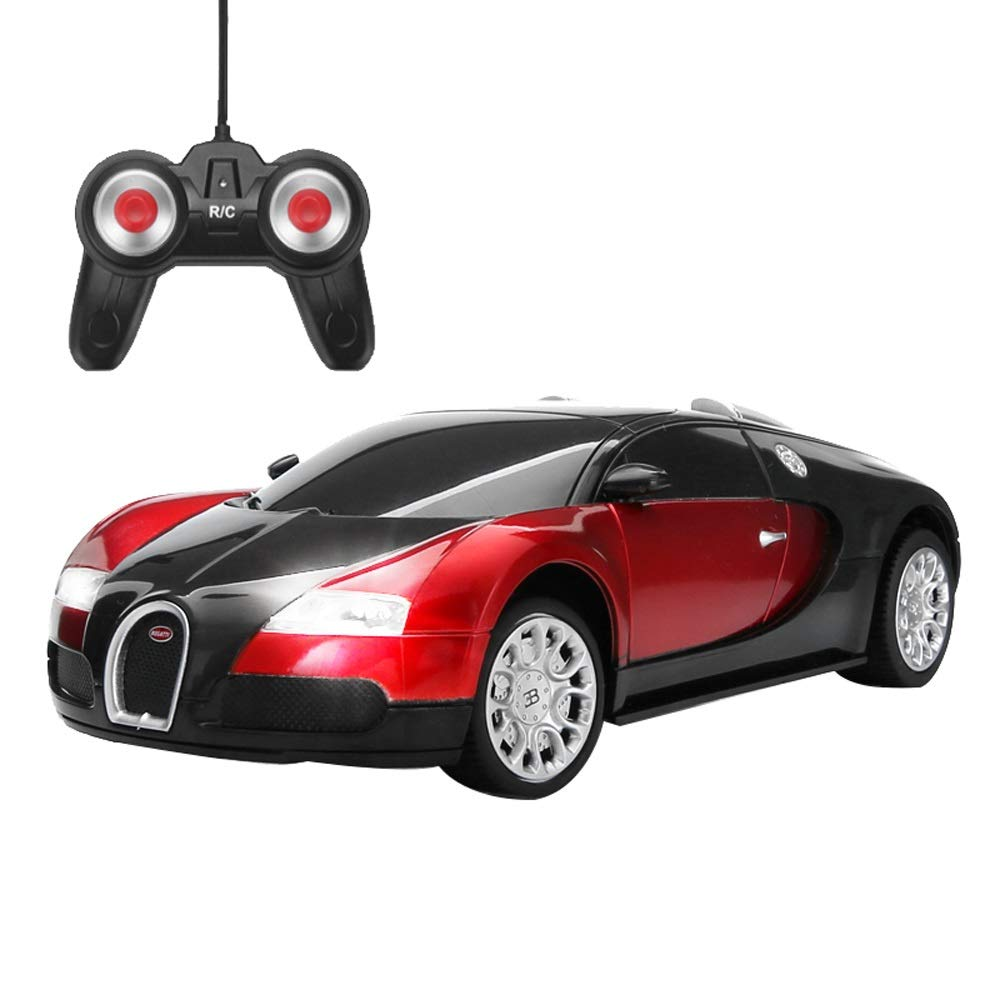 PETRLOY Remote Control Model Car Mini 1 24 Scale Ferrari Radio Remote Control Model Car Concept RC Sports Toy W  5.1 MPH Max Speed R C Vehicle for Boys Kids Toy Car Gift (Black+Red)