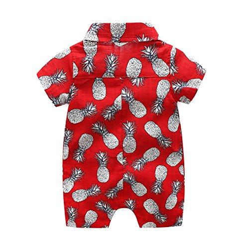 MHSH Newborn Baby Boys Short Sleeve Onesies Summer Printing Button-Down Polyester Casual Hawaiian Shirt Romper Outfits