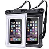 Egchi Waterproof Case IPX8 Waterproof Phone Pouch Case Underwater TPU Dry Bag for iPhone X/8/8plus/7/7plus/6s/6/6s Plus Samsung Galaxy s9/s8/s7 LG V20 Google Pixel HTC (2 Pack, Black&White)