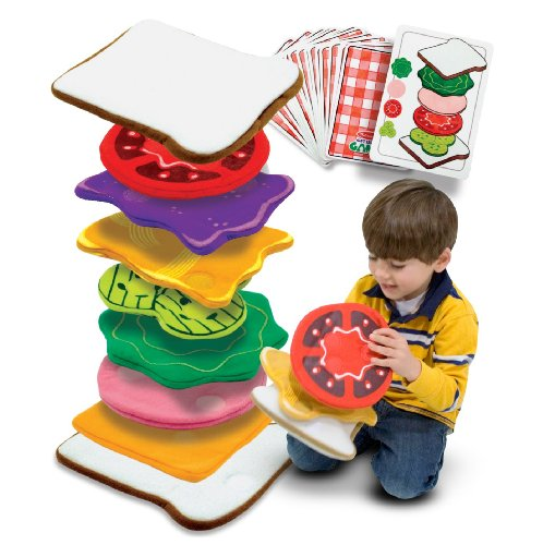 Melissa & Doug Sandwich Stacking Action Games - 10 Games, 4 Bread Slice Gloves, 14 Fillings
