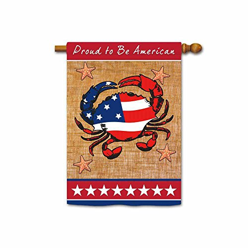 KafePross Proud to Be American Patriotic House Flag Crab and Star July 4Th Banner 28