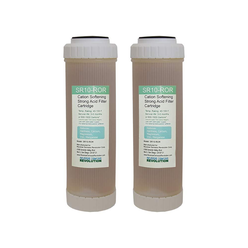 Reverse Osmosis Revolution SR101 10x2.5 Cation Resin Softener Water Filter for External Dishwasher Softener and RO Systems Qty of 2