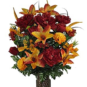 Orange Stargazer Lily and Burgundy Rose Mix Artificial Bouquet, featuring the Stay-In-The-Vase Design(c) Flower Holder (LG1306) 115