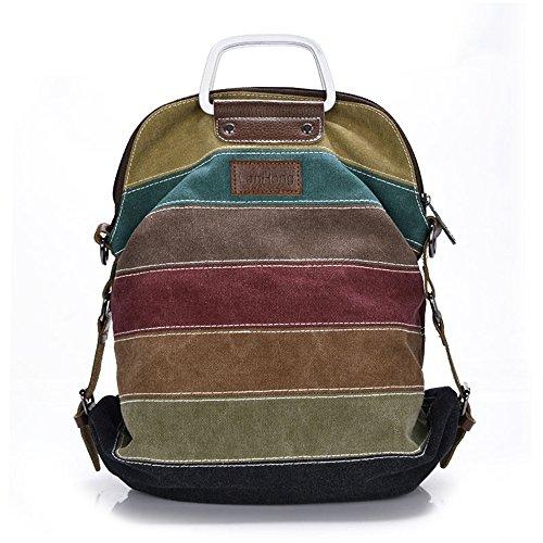 LanHong Women Canvas Handbag Stripe Multi-Color Backpack Tote Crossbody Shoulder Bags by LanHong