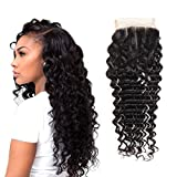 HUA Hair Deep Wave Lace Closure Only,100 Unprocessed 4×4 Virgin Human Hair 3 Part Closure for Black Women, Natural Color (14 inch 3 part closure) Review
