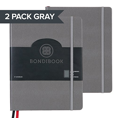 A4 Hardcover Lined Ruled Notebook Bullet Journal, 128 Numbered Pages, 2 Bookmarks, 4 Page Index, Large Bujo Lines Pages, 100 GSM Thick Paper (2 PACK RULED, 2 Pack Stone Gray) ()