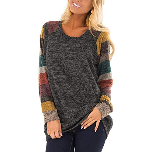 Dressation Womens Long Sleeve Loose Round Collar Flower Color Knits Sweater Tees Black