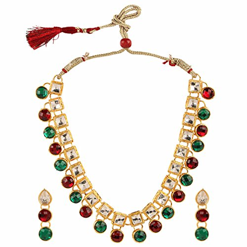 (Efulgenz Indian Bollywood Traditional White Red Green Rhinestone Faux Ruby Emerald Heavy Bridal Designer Jewelry Choker Necklace Set in Antique 18k Gold Tone for Women and Girls)