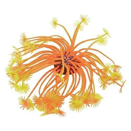 Amazon.com : eDealMax acuario Base de cerámica del Amarillo anaranjado de silicona acuática Coral Planta Decoración 3.1 Altura : Pet Supplies