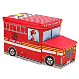 Simplecc Foldable Storage Ottoman,School Bus Folding Toy Box Chest Foot Rest Seat Fire Truck