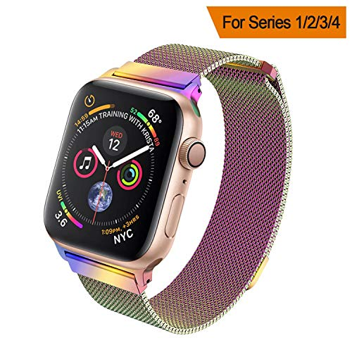 HILIMNY Compatible for Apple Watch Band 38mm 40mm 42mm 44mm, Stainless Steel Mesh Milanese Sport Wristband Loop with Adjustable Magnet Clasp for iWatch Series 1/2/3/4,Colorful
