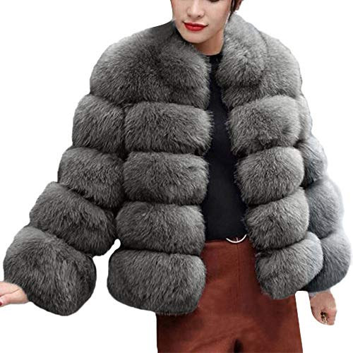 (Thatso Womens Fashion Luxury Faux Fur Hooded Winter Warm Jackets Coats Overcoat Snowwear (XS, B))