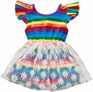 SUPEYA Girls Summer Beach Rainbow Dress Sleeveless Sling Perform Party Chiffon Tutu Dress