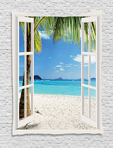 Ambesonne Turquoise Tapestry, Tropical Palm Trees on Island Ocean Beach Through White Wooden Windows, Wall Hanging for Bedroom Living Room Dorm, 40 W X 60 L Inches, White Blue