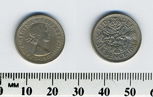 1958 Sixpence -- Great Britain -- England -- UK -- Lucky Wedding Coin! (Examples Of Something Borrowed For A Wedding)