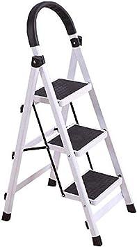 Escalera plegable taburete banqueta Escaleras de tijeras con pasamanos de 3 escalones, liviano, rosado, pequeño y de seguridad, escalera de peldaños de cocina para adultos mayores, metal, carga 150 kg: Amazon.es: Bricolaje