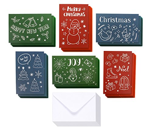 (36-Pack Christmas Greeting Cards Bulk Box Set - Assorted Winter Holiday Xmas Greeting Cards in 6 Illustrated Doodle Designs, Envelopes Included, 4 x 6 Inches)