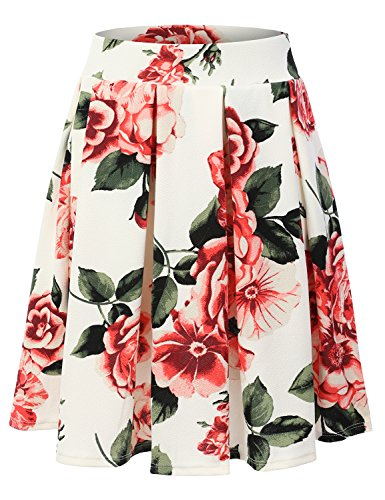 Doublju Elastic Waist Flare Pleated Skater Midi Skirt (Plus size available) IVORYPRINT 3XL